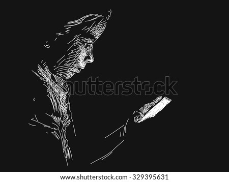 young girl using smart phone in