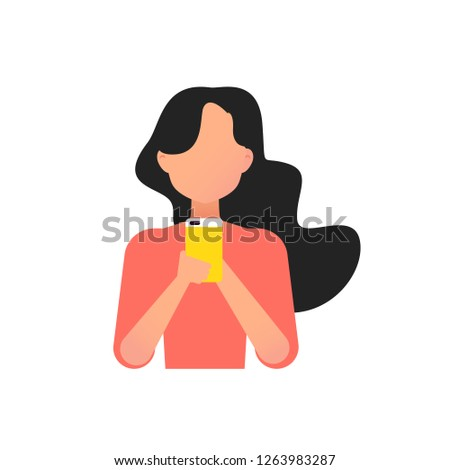 Young girl using smartphone. Vector flat design illustration