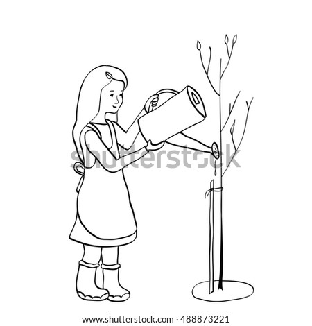young girl watering a tree from