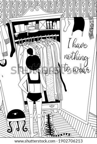 Young girl with cat standing in front of wardrobe with clothes and trying to choose outfit.Nothing to wear concept. Cartoon black and white  vector illustration in hand draw style. Stock photo ©