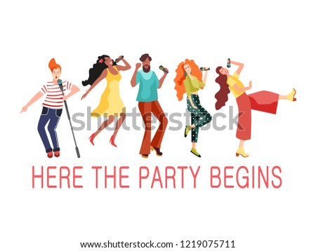 Young girls and men dudes dancing at a retro party to the music. Vector illustration in the style of 70-80 years
