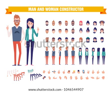 Young guy and girl character constructor with various views, hairstyles, poses and gestures. Front, side, back view. Modern people concept. Cartoon style, flat vector illustration.