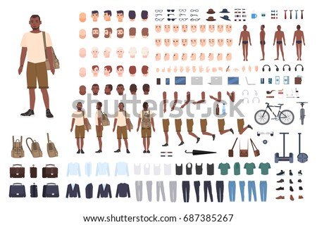 Young guy character constructor. Adult male creation set. Different postures, hairstyle, face, legs, hands, clothes, accessories collection. Vector cartoon illustration. Front, side, back view