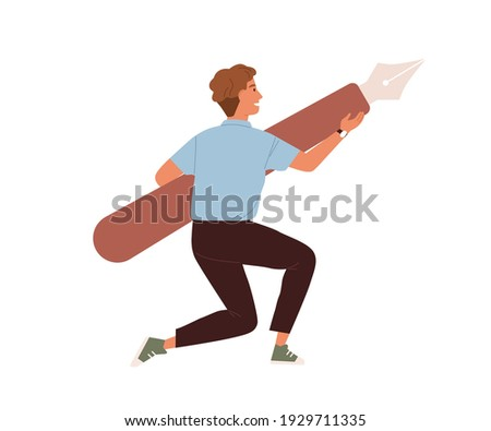 Young guy holding giant digital pen tool from graphic editor. Creator carrying design instrument for drawing. Colored flat vector illustration isolated on white background Photo stock ©
