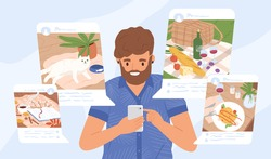 Young guy sharing moments at social networks vector flat illustration. Modern male holding smartphone making post for followers. Addiction from social media and internet