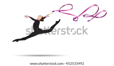 Young gymnast woman with ribbon jumping, doing split leap in the air, isolated on white. Gymnastic element, athletic, sport. Illustration. Rhythmic gymnastics, Summer games. Brazil 2018. Rio. Junior.