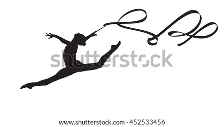 Young gymnast woman with ribbon silhouette, performing rhythmic gymnastics element, jumping doing split leap in the air, isolated on white background Illustration. Junior national group Gymnastic 2018