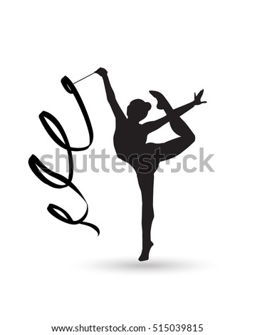 Young gymnast woman with ribbon silhouette. Rhythmic Gymnastic young girl Isolated. Gym kids. Olympic athlete gymnastic. Gymnastic Ribbon Vector. Artistic gymnastics, ballet, yoga, gym, fitness sports