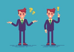 Young handsome businessman has a challenge and find a solution. Business concept. Vector illustration flat style.