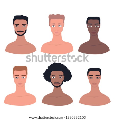 Young handsome man avatar Male profile picture Hand drawn cartoon character set Different nationality ethnicities collection African American Asian Caucasian Mixed Pacific Islander Guys Face portrait