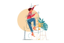 Young handsome man climbs upstairs for repair work. Isolated concept male character with modern style works in service with equipment. Vector illustration.