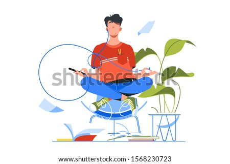 Young handsome man meditating using smartphone for yoga training. Isolated concept relax person character do sport using modern device technology. Vector illustration.