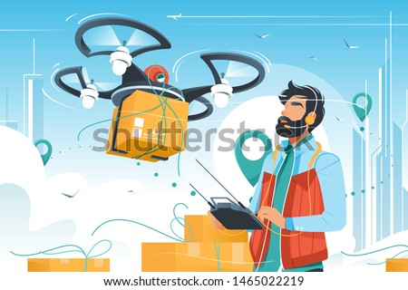 Young handsome man with beard controls drone delivery with wireless remote. Concept male employee character distributing boxes using modern technology device. Vector illustration.