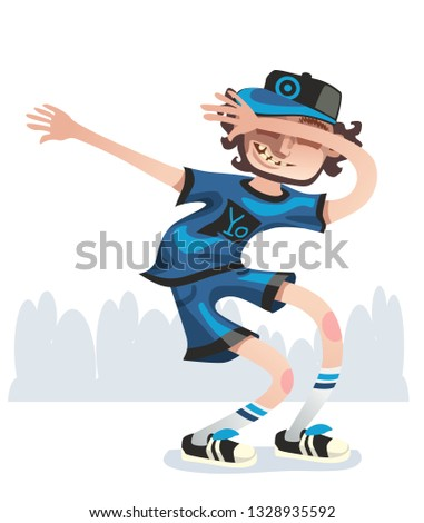 Young happy dancer make internet meme isolated on white background. Smiling young men enjoying dance party. Colorful vector illustration in cartoon style