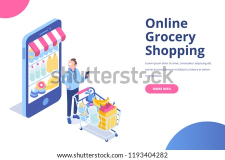 Young happy man character with shopping cart. Happy shopper. Online Grocery Shopping and  Supermarket concept. Flat vector isolated  illustration isolated on white.