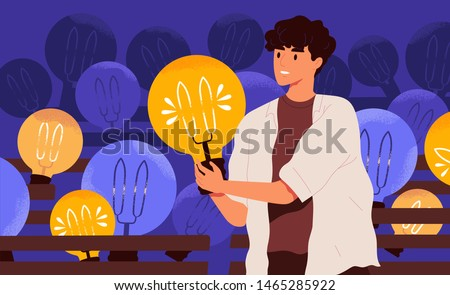 Young happy man holding lightbulb. Smiling boy with light bulb. Concept of generation of innovative ideas, creative thought, creativity and imagination. Flat cartoon colorful vector illustration.