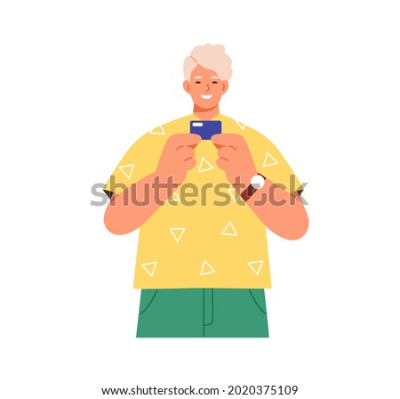 Young happy man standing with new plastic debit or credit card in hands. Portrait of smiling bank client. Modern person with cashless finance. Flat vector illustration isolated on white background