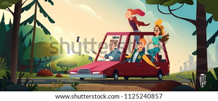 Young happy people going by a car from the city to the nature. Student vacation concept. Beautiful summer landscape
