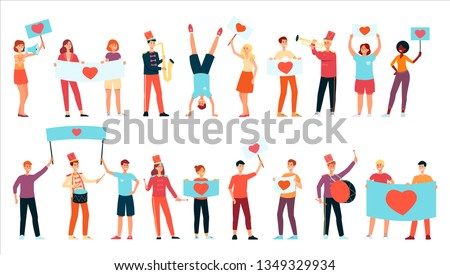 Young happy people holding placards and banners with heart image, playing music and dancing in flat style - isolated vector illustration set of peace and love demonstration or parade participants.