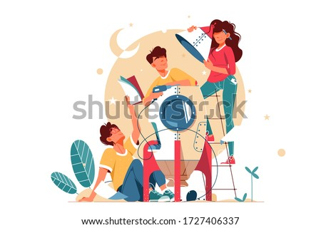 Young happy two men and girl building mini rocket together. Concept smiling male and female character friends development modern technology using equipment. Vector illustration.