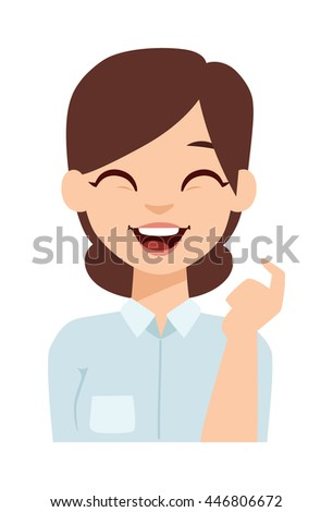 young happy woman smiling or
