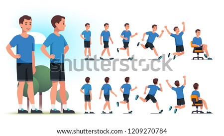 Young healthy sportsman person poses, various actions set. Front and back views collection. Fit man standing in park, walking, jogging, running, jumping, sitting in chair. Flat vector illustration