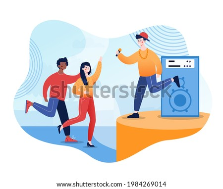 Young hip hop singer perform on stage. Concert of youth movement in pop music. Flat abstract cartoon vector illustration concept design web banner. Simple art isolated on white background. Stock photo ©