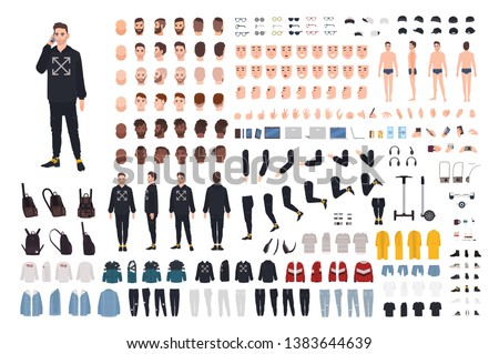 Young hipster man in modern street style outfit animation kit. Bundle of body details, emotions, stylish clothes, hairstyles. Male cartoon character. Front, side, back views. Flat vector illustration.