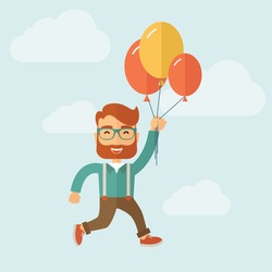 Young hipster with a beard is flying in blue sky holding group of colored balloons. Freedom concept. Vector flat design illustration.