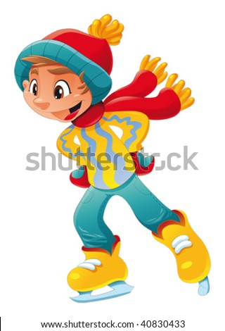 young ice skater funny cartoon