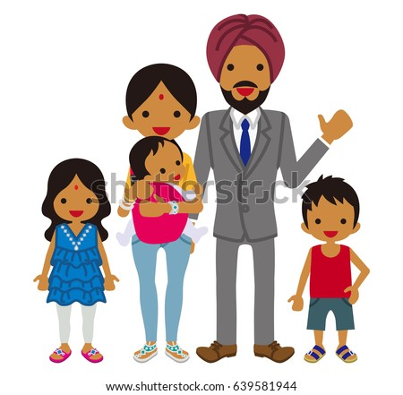 Young Indian family -Clip art