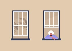 Young indian male character looking out the window, self-isolation and boredom, quarantine