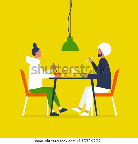 Young interracial couple eating ramen with the chopstics. Date. Restaurant. Daily life. Flat editable vector illustration, clip art
