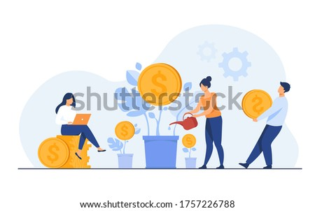Young investors working for profit, dividend or revenue flat vector illustration. Cartoon employees investing capital. Investment, money and finance concept