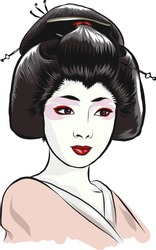 Young Japanese woman in a geisha costume. Charmingly cute face degeneration. Dark hair and eyes, a neat little mouth. White skin, bright makeup, beautiful traditional hairstyle. Vector