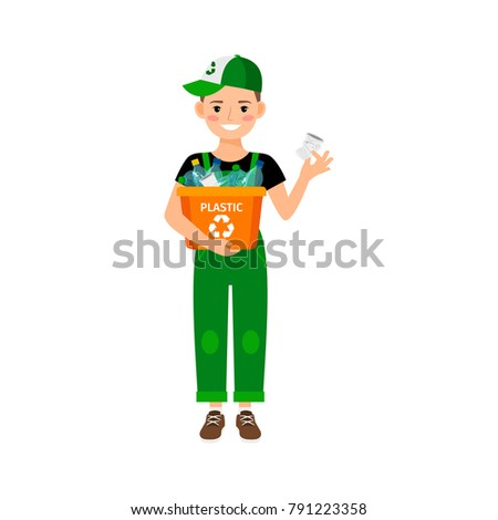 Young kid learning recycle trash vector illustration on white backdrop