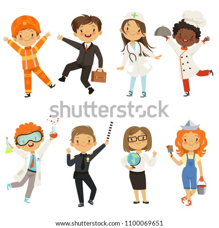 Young kids boys and girls of different professions. Policeman and painter, chemist male kid. Vector illustration