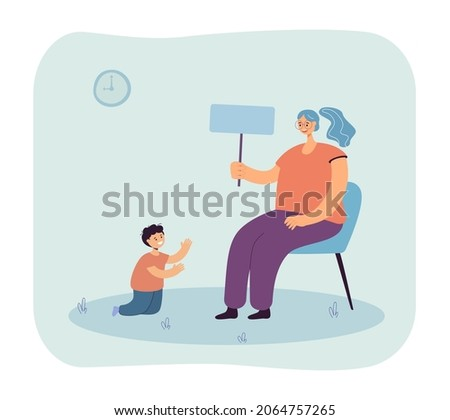 Young kindergarten teacher sitting on chair and playing with boy. Woman teaching child via game flat vector illustration. Upbringing and education concept for banner, website design or landing web