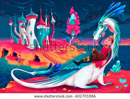 young king with his dragon in a