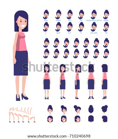 Young lady character for your scenes. Character creation set with various views, face emotions, lip sync, poses. Parts of body template for design work and animation.