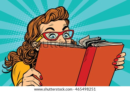 Young lady reading a book, pop art retro vector illustration. Interesting reading