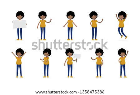 Young Latino Brunette Woman Girl Character Cartoon Poses Casual Cloth Flat Icon Set #1358475386