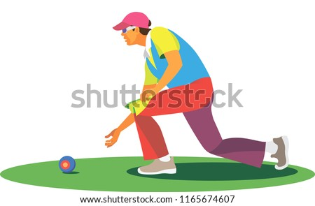 young lean man is a player in the bowls, which participates in competitions in the grass field Stock photo ©