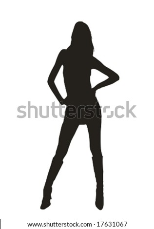 young leggy woman standing - isolated black silhouette vector illustration