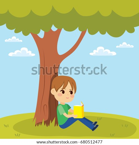 young little kid reading a book