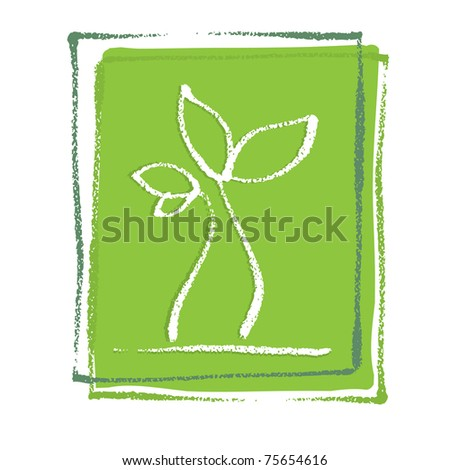 Young little plant seedling, artistic painterly simplified chalk-like illustration, vector