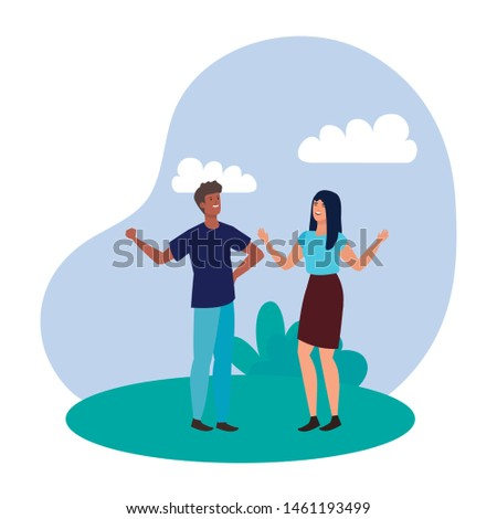 young lovers couple in the landscape
