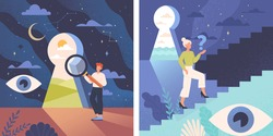 Young male and female characters are standing confused near keyhole. Concept of self discovery and cognitive search. Personality development with inner identity. Flat cartoon vector illustration