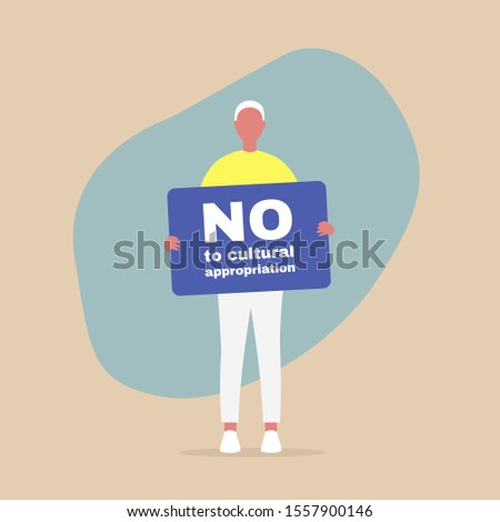"""Young male character holding a """"no to cultural appropriation"""" banner, colonialism and minority cultures"""