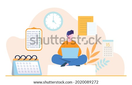 Young male character is planning his day in laptop applications. Concept of scheduling appointments on mobile device in calendar application. Man adding reminders. Flat cartoon vector illustration Photo stock ©